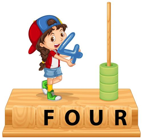 A girl holding number four