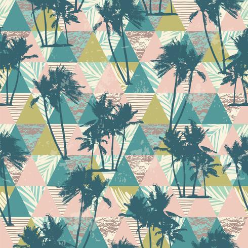 Nahtloses exotisches Muster mit tropischen Palmen und geometrischem Hintergrund.