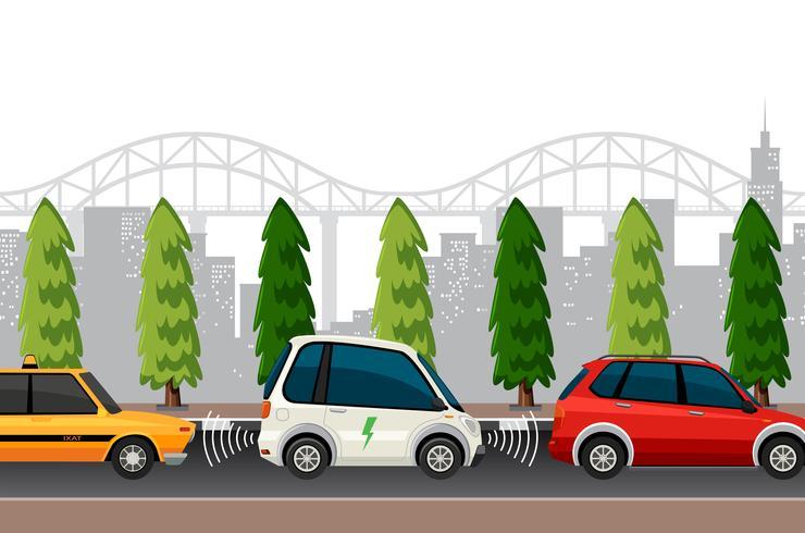 Elektroauto-Parkplatzszene