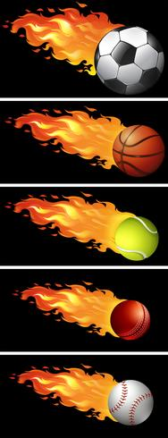 Sport balls on fire - Download Free Vector Art, Stock Graphics & Images
