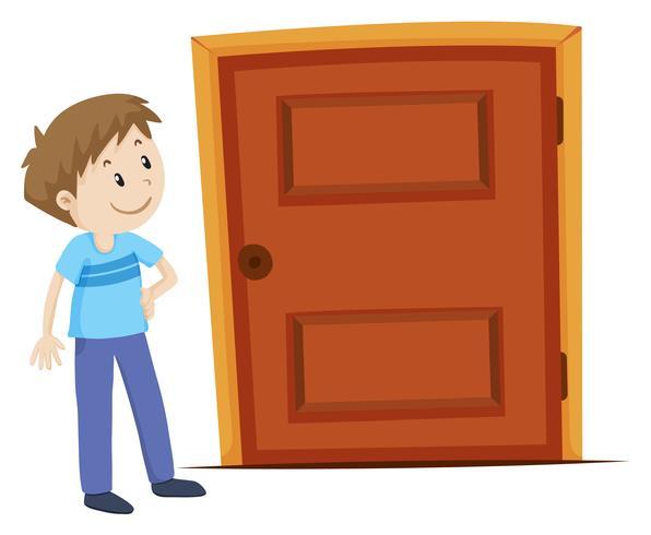 Mann, der die Tür betrachtet