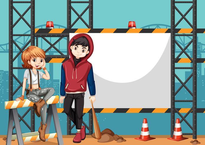 Twee straatkinderen en leeg frame