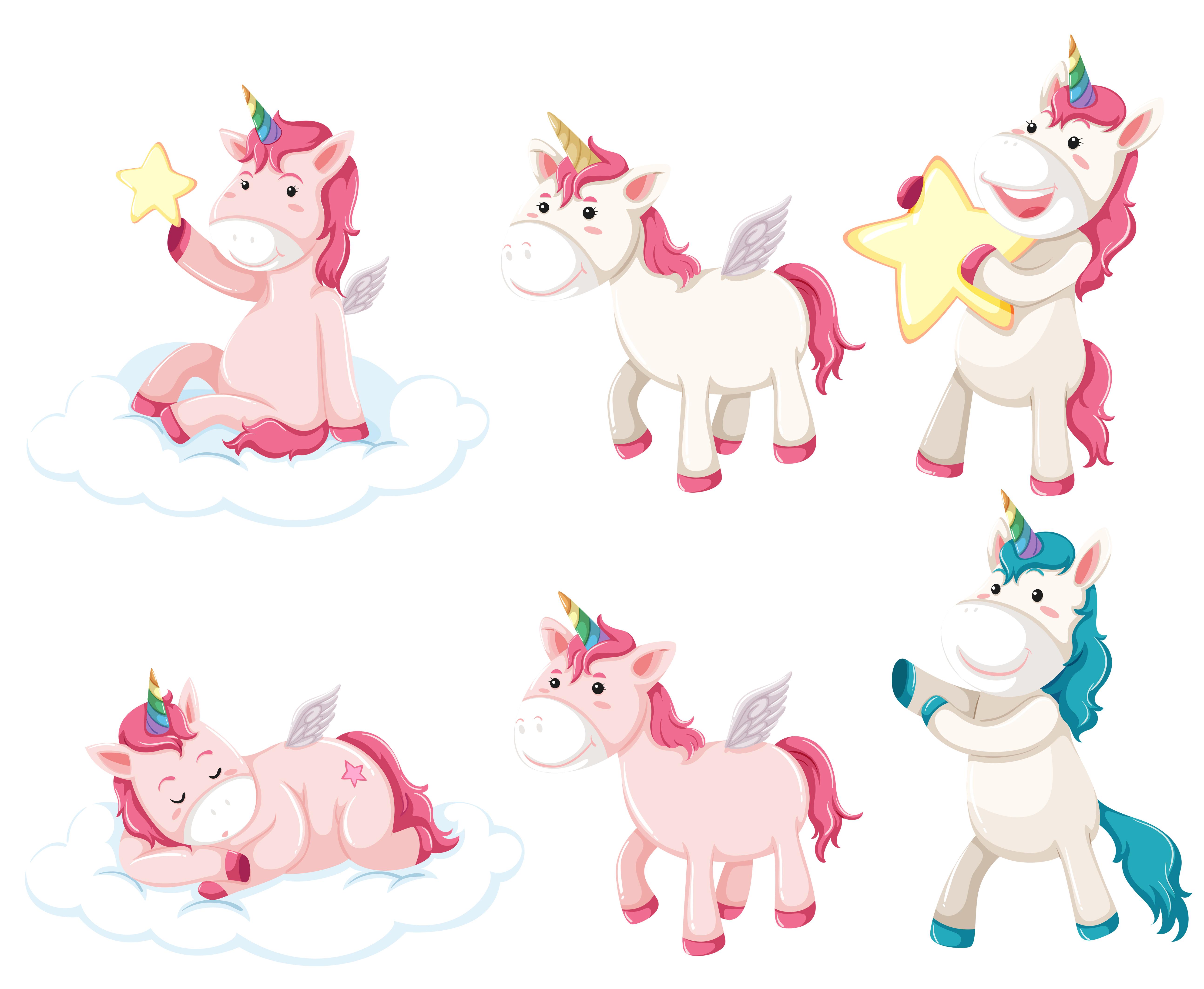 set of unicorn character 303875  download free vectors