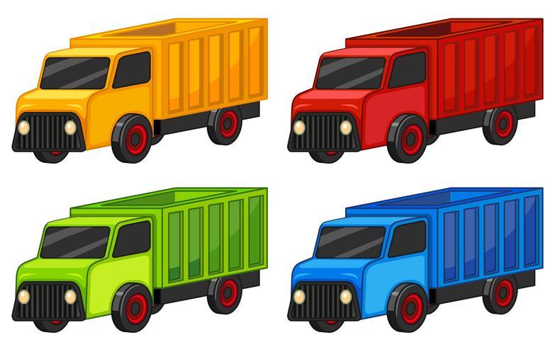 Lastwagen in vier Farben