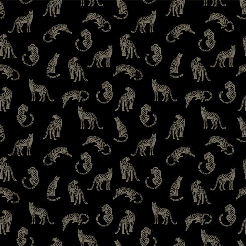 Seamless pattern with leopards. vector