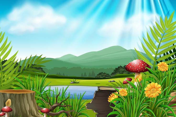 Background scene with mountain and lake - Download Free Vector Art, Stock Graphics & Images