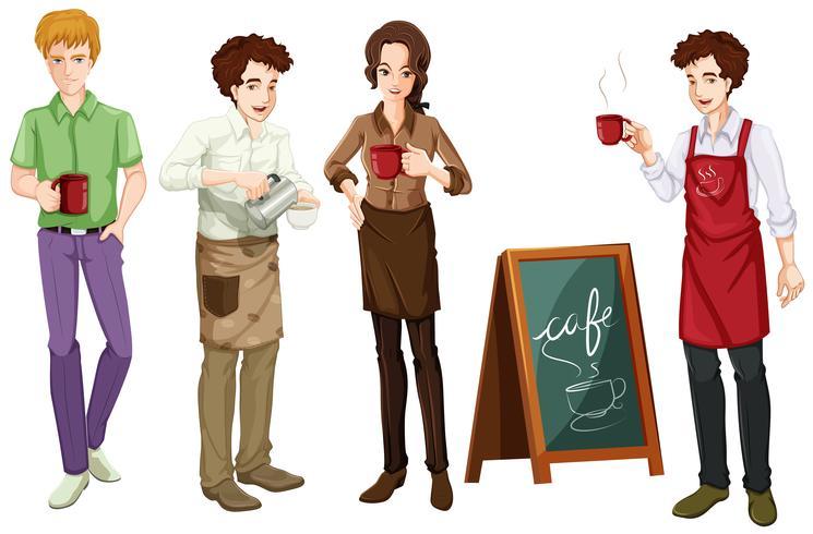 Menschen, die im Café arbeiten