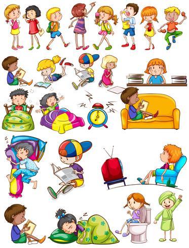 Niños y niñas realizando actividades.