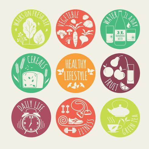 Ilustración de vector de estilo de vida saludable. conjunto de iconos