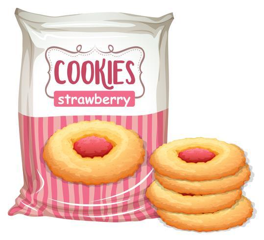 Una bolsa de galletas de fresa