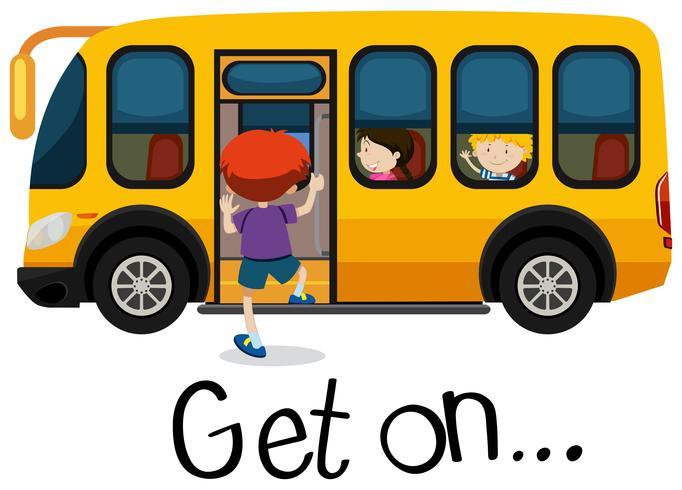 Wordcard per andare avanti con il ragazzo salire sullo scuolabus vettore