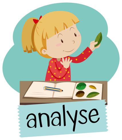 Wordcard for analyse with girl looking at leaves