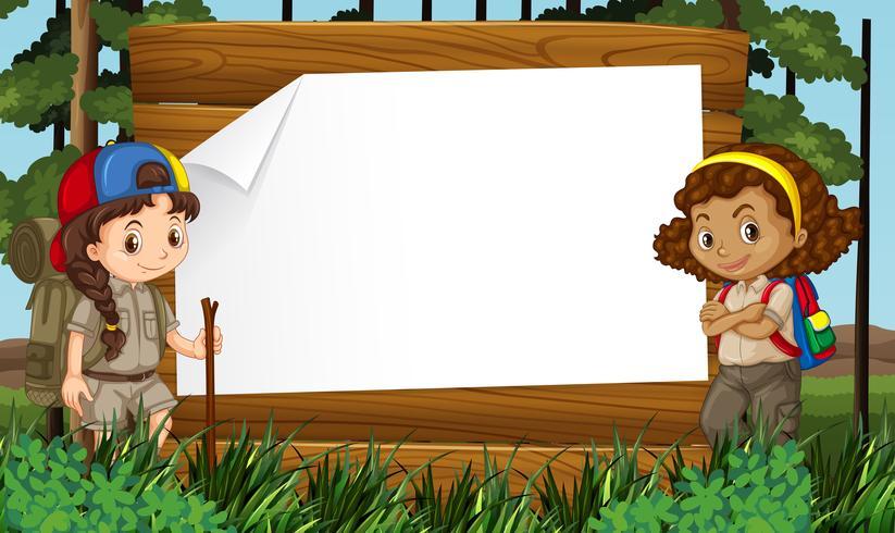 Diseño de la frontera con dos chicas acampando.