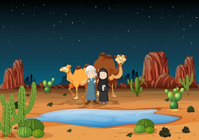 Ökenscenen med arabiska människor och kameler