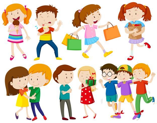 Kinder und Menschen, die verschiedene Aktionen ausführen