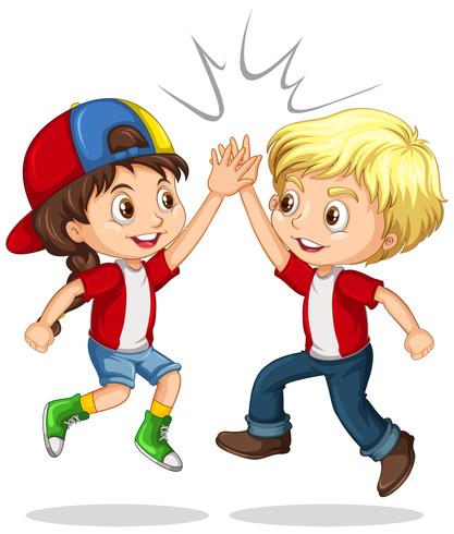 Boy and girl high five vector