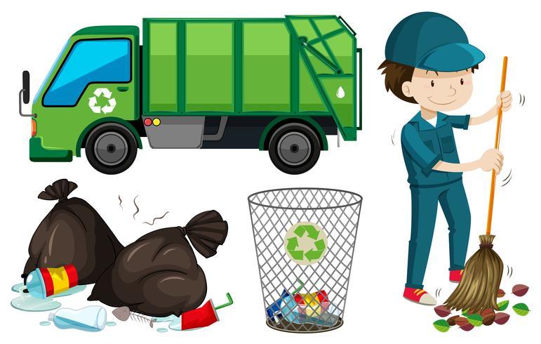 Conjunto de caminhão de lixo e zelador