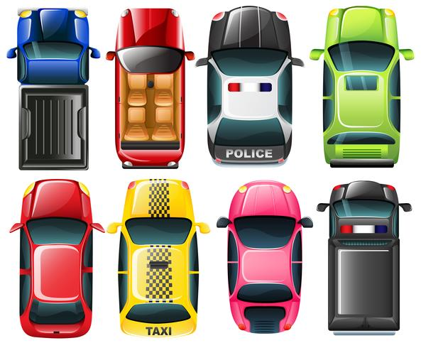 Draufsicht auf die verschiedenen Fahrzeugtypen vektor