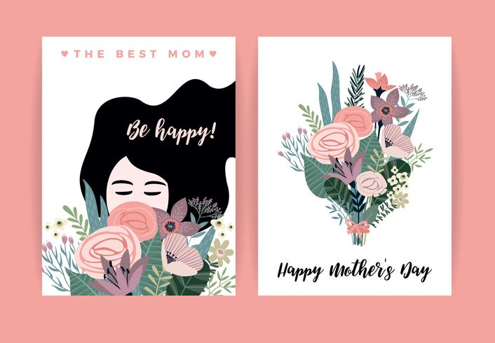 Schönen Muttertag. Vektorabbildung mit Frau und Blumen.