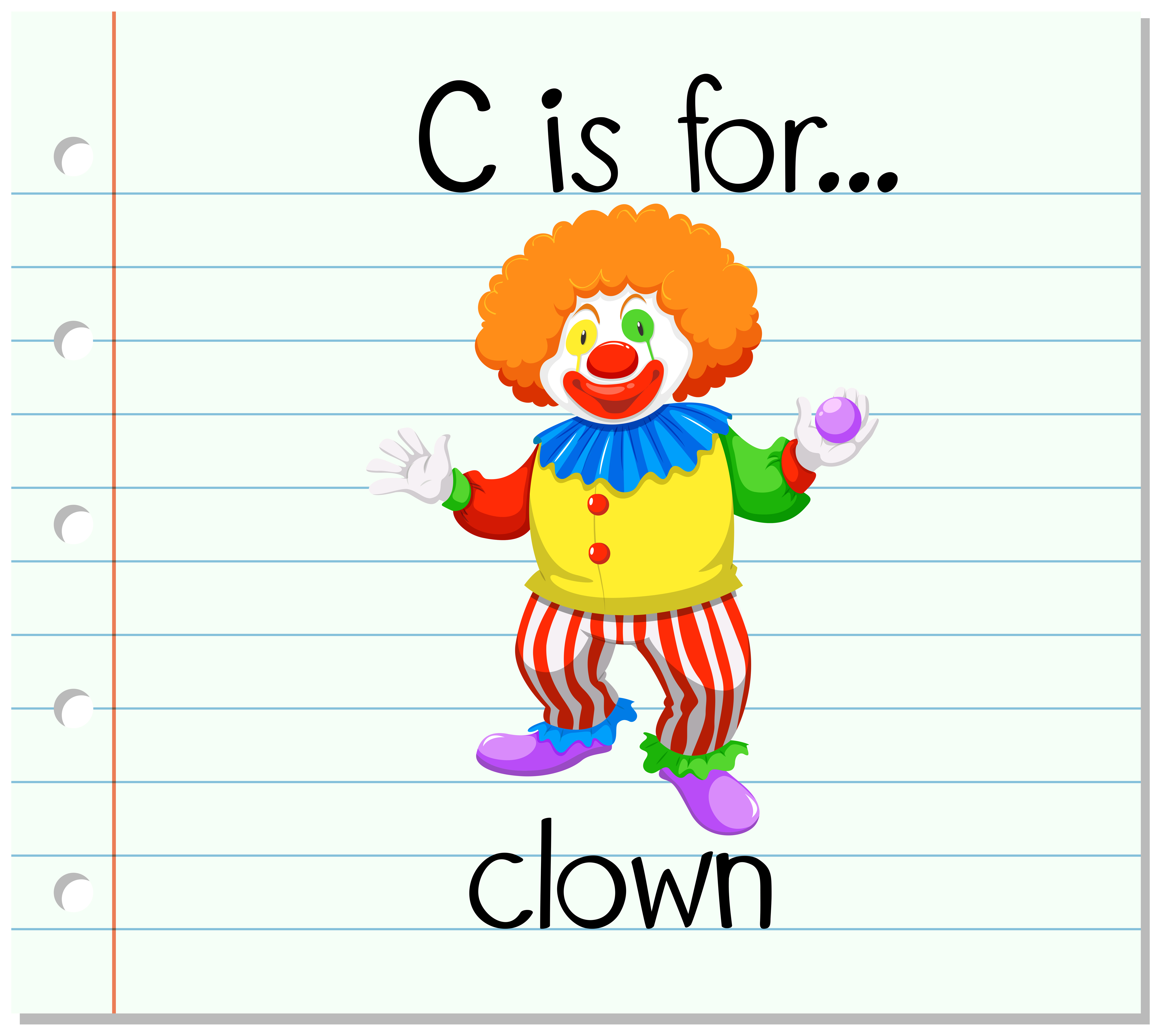 Flashcard Letter C Is For Clown