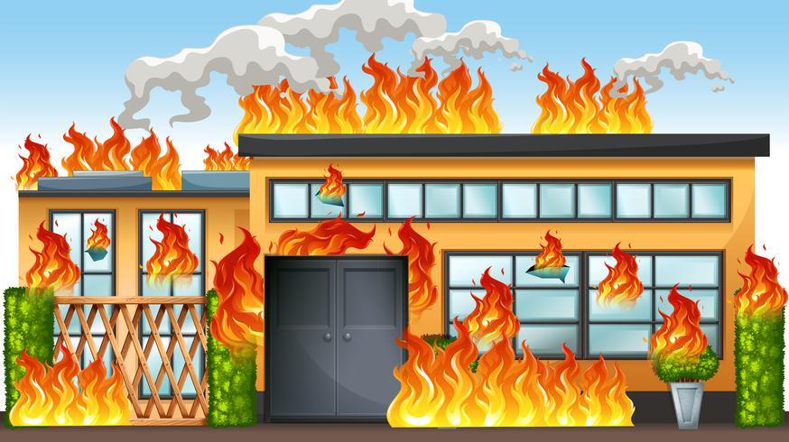 Ein Gebäude in Brand