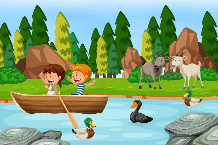 Escena del bosque con niños y animales.