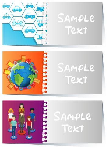Kartenvorlagen mit Infografik-Designs