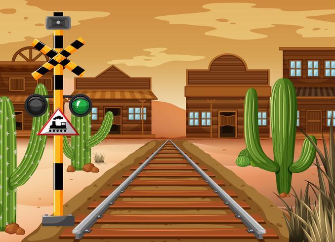 Cena, trem, pista, ocidental, cidade