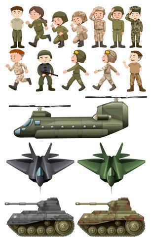 Soldaten und verschiedene Transportarten