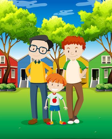 Famiglia di adozione di LGBT al villaggio