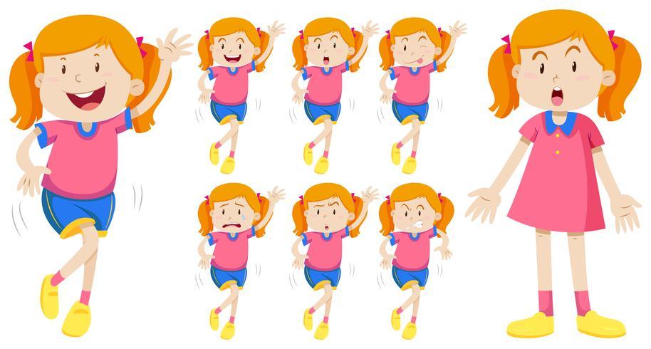 Fille en rose avec des expressions différentes