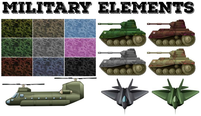 Militärt tema med kakel och tankar