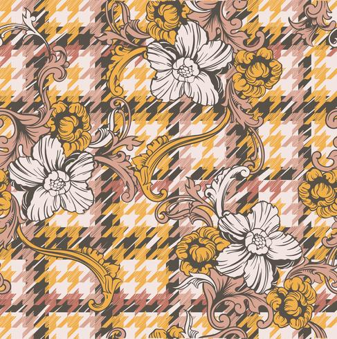 Modèle sans couture de tissu éclectique plaid avec ornement baroque.