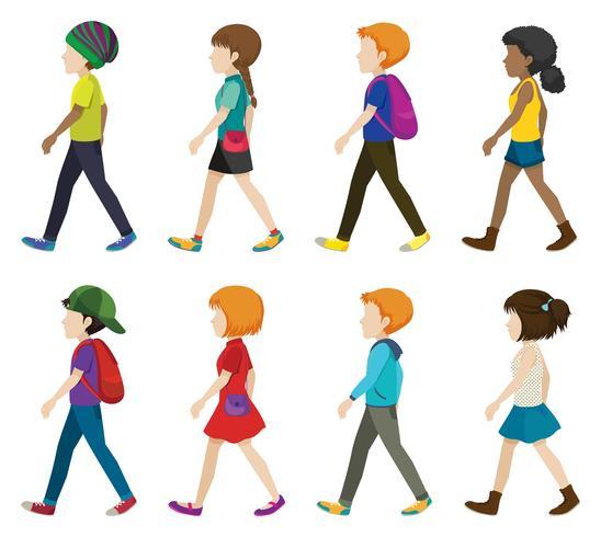 Crianças sem rosto andando