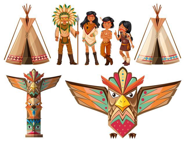 Indios nativos americanos y tipi vector