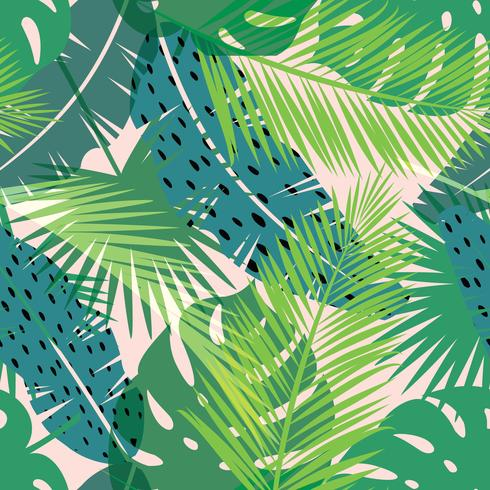 Tropical summer print with palm. Seamless pattern vector