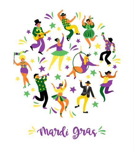 Mardi Gras. Ilustración vectorial de divertidos hombres y mujeres bailando en trajes brillantes