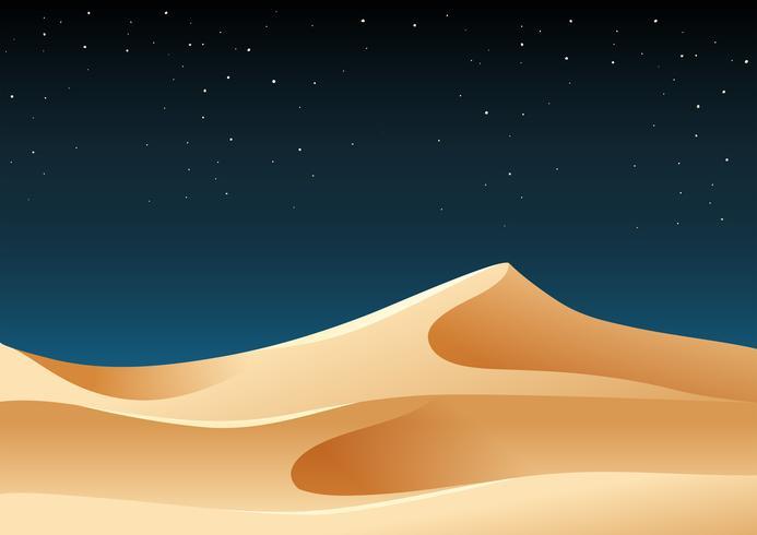 Sabbia del deserto all'illustrazione di notte