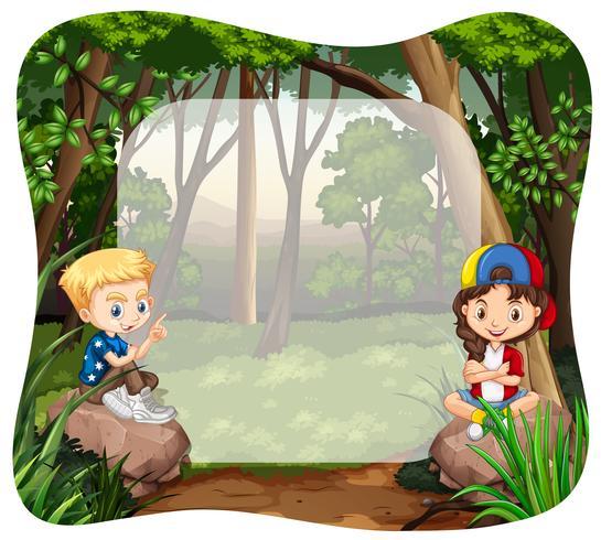 Jungen und Mädchen im Dschungel