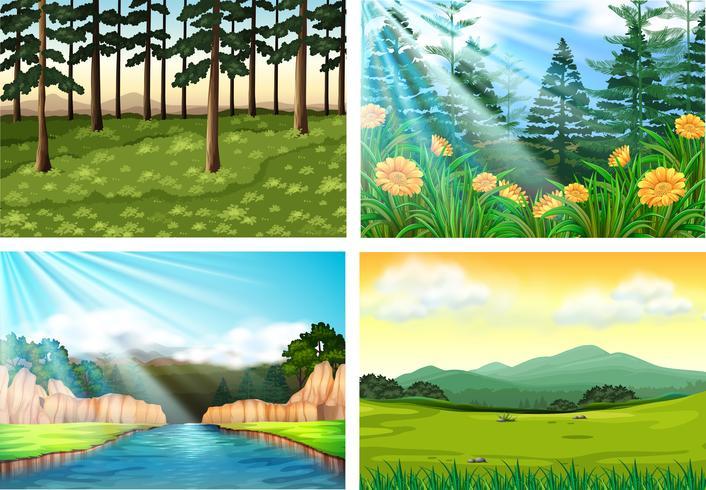 Vier Hintergrundszenen von Wald und Fluss