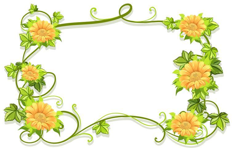 Modèle de cadre avec des fleurs jaunes