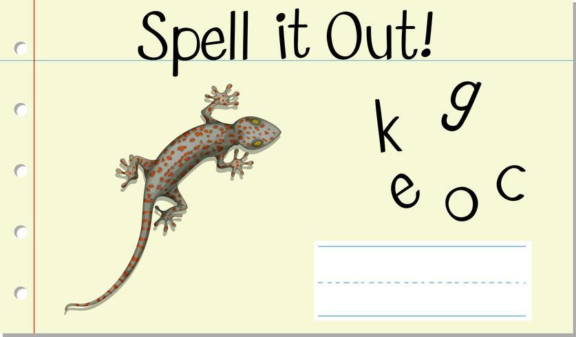 Stava engelska ord gecko