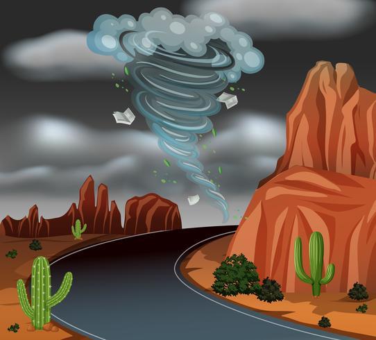 Cyclone storm desert scene vector