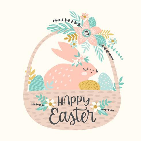 Gelukkig Pasen. Vectormalplaatje met Pasen-konijntje voor kaart, affiche, vlieger en andere gebruiker