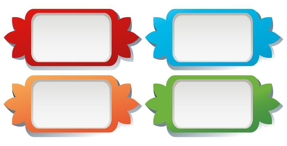 Étiquette carrée design en quatre couleurs