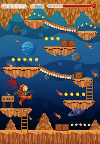 Astronaut in ruimte spel sjabloon