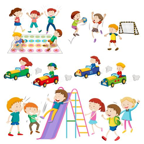 Niños jugando juegos y deportes. vector