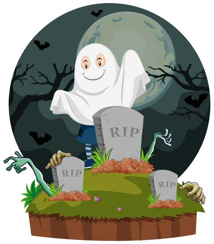 Scen med spöke i kyrkogård