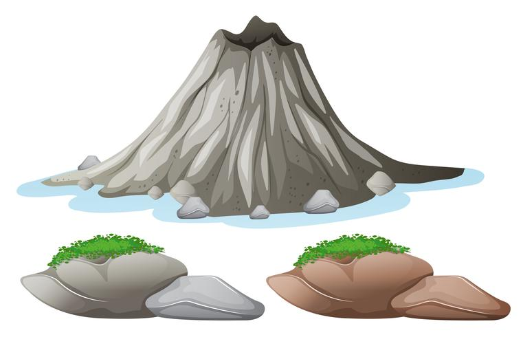 Volcano and different shades of rocks vector