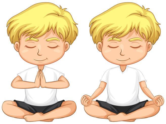 Joven, rubio, niño, meditar